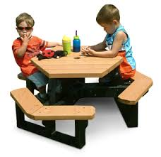 kids hexagon picnic table recycled plastic belson outdoors