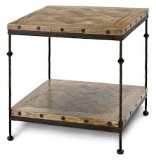 shays rustic mango wood parquet metal square end table kathy kuo