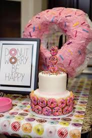 cake donut piñata from a donut themed birthday party via kara u0027s