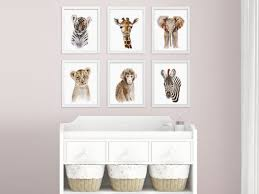 Giraffe Baby Decorations Nursery by Baby Animal Prints Safari Nursery Art Print Set Jungle