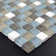 Stone Glass Mosaic TileSsmoky Mountain Square Tiles With Marble - Square tile backsplash