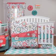 Ideas Aqua Bedding Sets Design Beautiful Mini Crib Bedding Sets Design Cotton Material Floral
