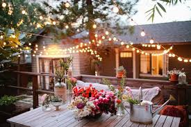 Flowers For Backyard by Wooden Coffee Table And Nice Outdoor String Lights Using Elegant