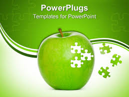 powerpoint template green apple close up in white and green