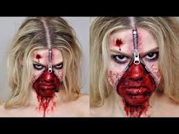 get all gruesome and spooky with this unzipped zipper face