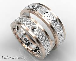 custom wedding bands his and diamond matching ring vidar jewelry unique custom
