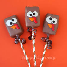 rice krispie treat turkeys and silly thanksgiving lollipops
