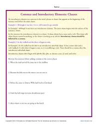 commas and introductory elements clauses punctuation worksheets