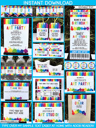 theme invitations birthday party theme printables paint party