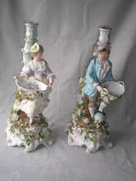 stunning pair schierholz german porcelain figural candle holders