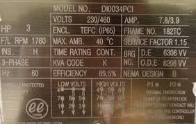 what does all of the information on a motor nameplate mean