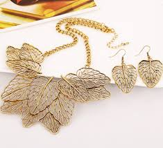 gold sets design fashion chic hollowed out gold leaf bib necklace earrings set
