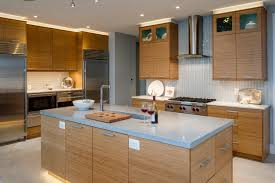 Bentwood Cabinetry Bamboo Cabinets Open Floor Plan Islands - Vertical subway tile backsplash