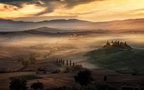 nature landscape sunrise mist tuscany italy field trees