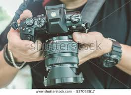 Professional Photographer Professional Photographer Concentrate Continue His Stock
