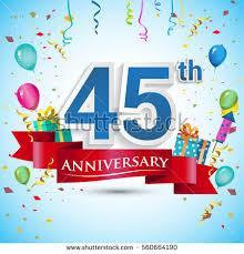 45 year anniversary gift 45th years anniversary celebration design gift stock vector