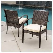 Patio Dining Furniture Cordoba Set Of 2 Wicker Patio Dining Chair With Cushion Brown