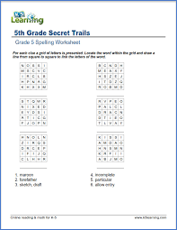fifth grade spelling worksheets k5 learning