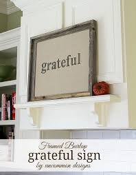uncommon home decor framed burlap grateful sign create a lasting family reminder