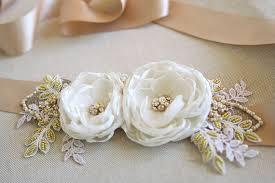 bridal flower sash wedding dress belt burlap bridal sash champagne
