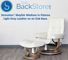Recliners With Ottoman by Stressless Mayfair Paloma Light Grey Leather Recliner Chair And