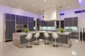 Kitchen Cabinet Led Downlights Modern Interior Kitchen Design Feature Grey L Shaped Kitchen