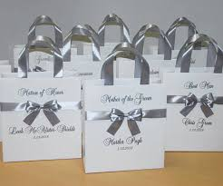 bridesmaid gift bags silver bridesmaid gift bag with bow personalized bridal