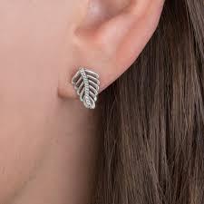 feather stud earrings pandora shimmering feathers stud earrings 290582cz greed