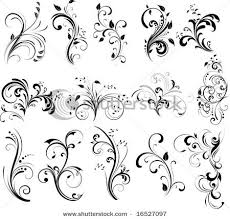 tatoos with swirl designs floral silhouette element for design
