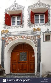 entrance of an engadin house decorated with sgraffito ornaments
