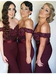 burgundy bridesmaid dresses buy stylish burgundy mermaid the shoulder sequins with lace
