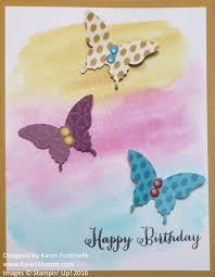 watercolored butterfly birthday card stamping with karen