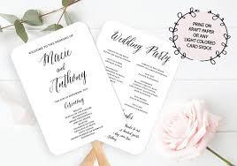 printable wedding program fans wedding program fan template calligraphy wedding program fan