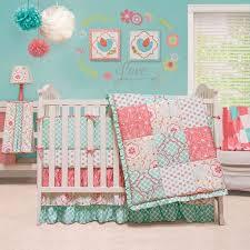 the peanut shell baby crib bedding set coral and aqua