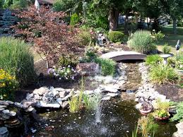 backyard pond design with waterfall features ideas also small