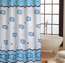 Extra Long Shower Curtain Blue Fish Shower Curtains For Bathroom Thick Polyester Extra Long