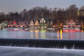 Boat House Row - boathouse row with holiday lighting