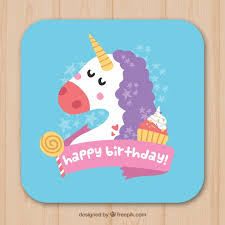 unicorn birthday card with sweets vector free download