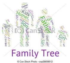 clipart of family tree indicates hereditary ancestry and text