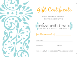 customized gift cards gift certificates elizabeth bean photography