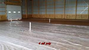 How To Build A Wood Floor With Pole Barn Construction by Installing A Heated Concrete Floor In Morton Barn Youtube