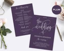 purple wedding programs plum wedding program etsy