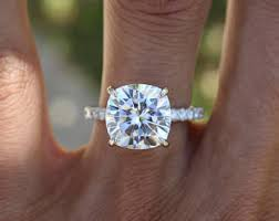 5 carat engagement ring 5 carat elongated cushion moissanite diamond pave engagement