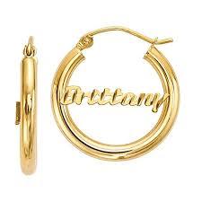 name hoop earrings diamond cut personalized name hoop earrings 14k gold