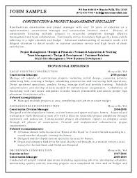 construction manager resume sample construction management jobs