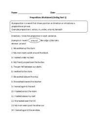 circling prepositions worksheets part 1 6th language arts
