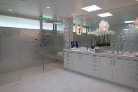 bathroom modern bathroom design with round vanity mirror and