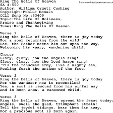 thanksgiving titles salvation army hymnal song ring the bells of heaven with lyrics