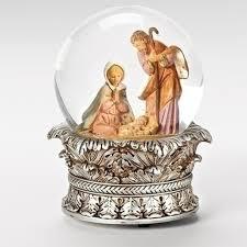 6 fontanini musical holy family christmas nativity snow globe