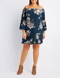 plus size off the shoulder bell sleeve dress charlotte russe